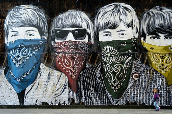 Street art of the Beatles in London, England. Photo by nationalgeographic.com