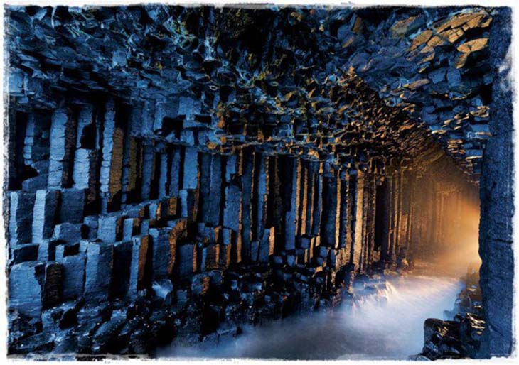 Fingals cave was formed by lava flow which fractured upon cooling. Photo by topDreamer