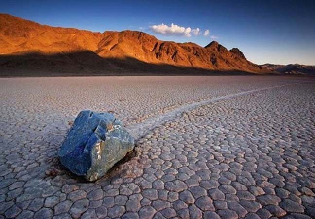 Rocks sliding across Death Valley. Photo by Meera Dolasia
