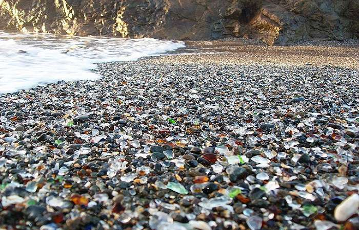 Glass beach is a popular tourist destination