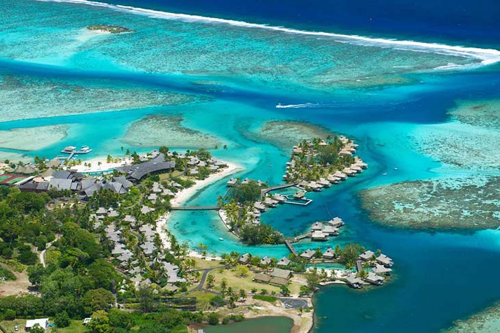 An image taken from the sky of the InterContinental Resort on Tahiti. photo via visualitnieraries