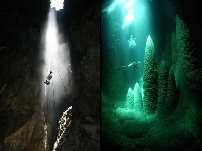 The abseilling and scuba diving within the blue cave. Photo via ba-bamail