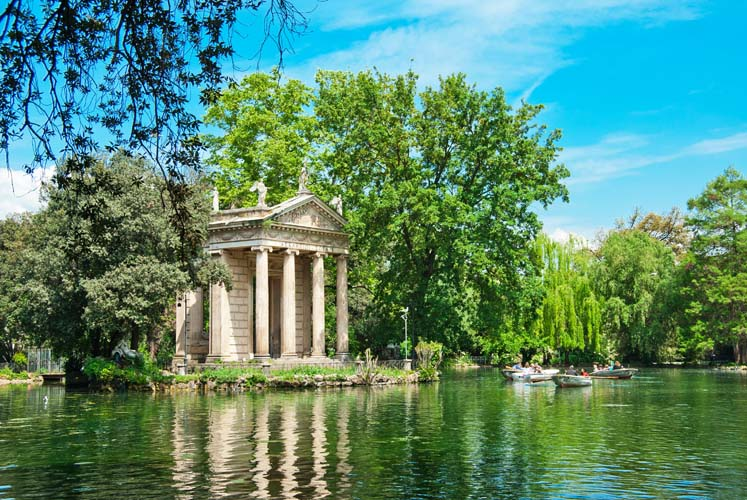 The Temple of Aesculapius in the Borghese Gardens. Photo via go-today