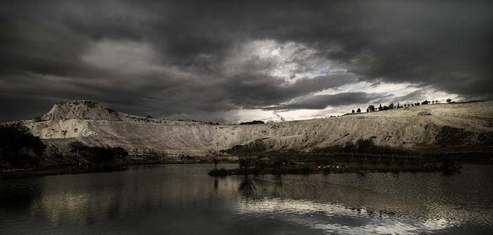 A storm brews over a lake in Pamukkale. Photo by Fatih Cetin via pixoto.