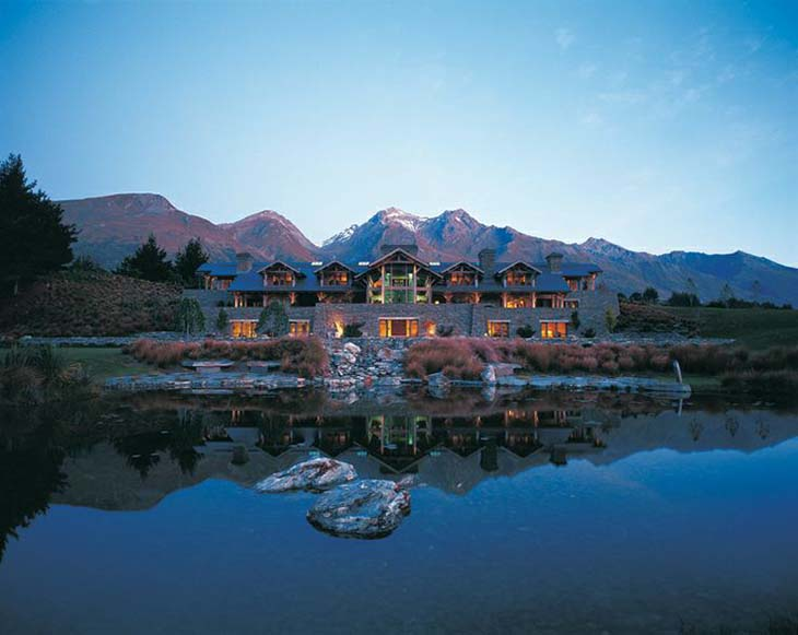 Blanket Bay Lodge by night. Photo by blanketbay